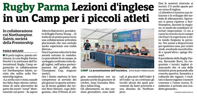 Gazzetta di Parma 04.09.19 - Conferenza stampa International Rugby Camp