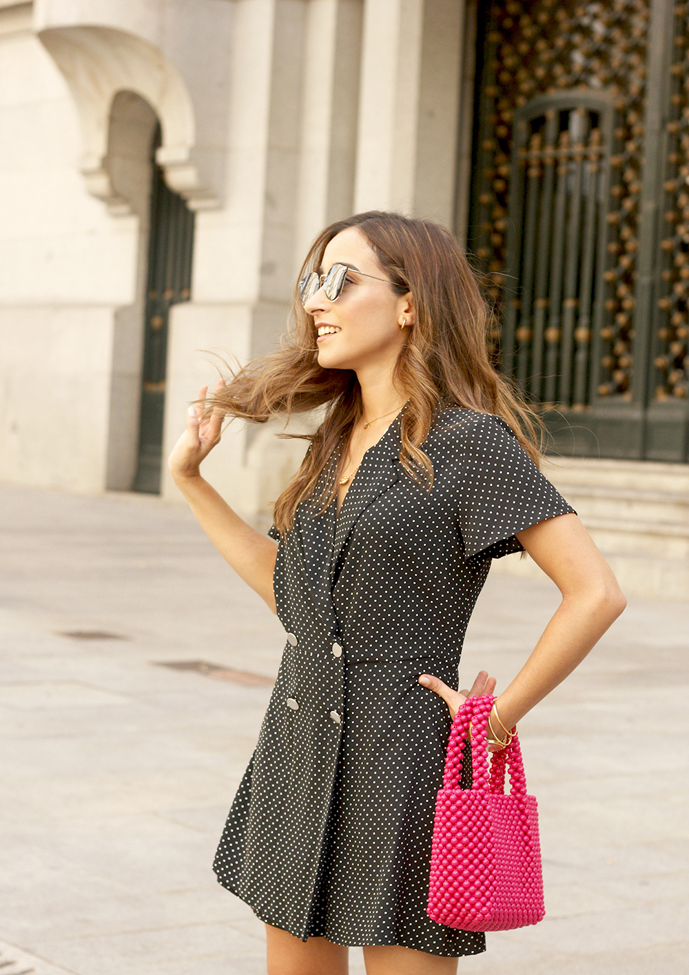 polka dot jumpsuit pink bag carolina herrera heels street style outfit summer12