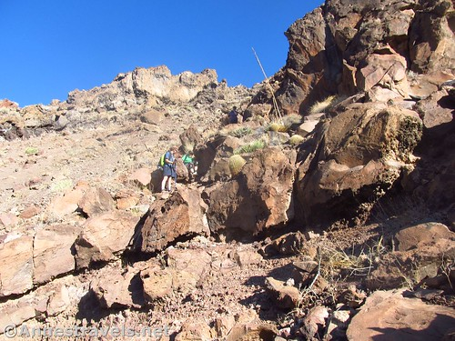 Contemplating descending a dryfall on the Lava Falls Route, Grand Canyon National Park, Arizona