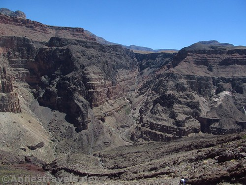 Views into the side canyon across the Colorado River from the Lava Falls Trail in Grand Canyon National Park, Arizona