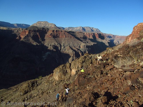 I've run out of pictures of people climbing up, so here's a picture of some of my group climbing down the Lava Falls Route, Grand Canyon National Park, Arizona