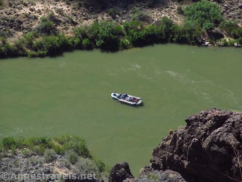 Raft on the Colorado River, waiting above the Lava Falls Rapids, Grand Canyon National Park, Arizona