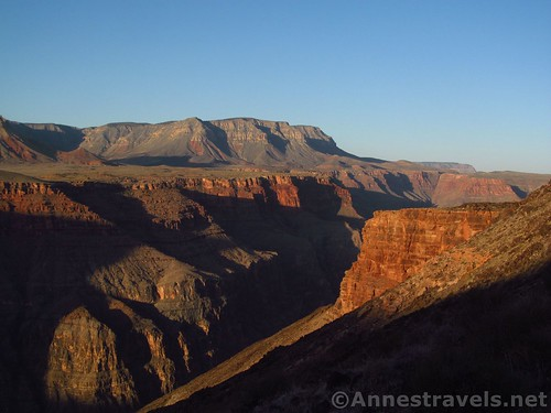 Glow of sunrise over the Grand Canyon on the Lava Falls Route, Arizona