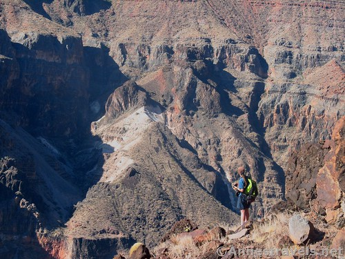 Lost in the grandeur of the Grand Canyon along the Lava Falls Trail, Arizona