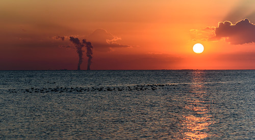 flockofseagulls ferminuclearpowerplant silhouette panorama sunset lakeerie colchesterharbour flickrunitedaward fantasticnature