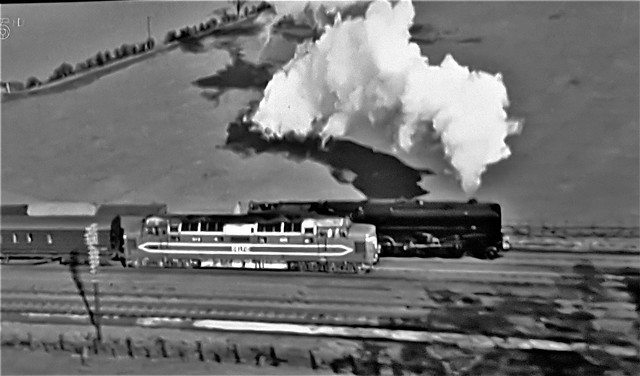 Deltic DP1 Protoype Overtakes a Steamer.