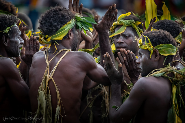 Beautiful People of Papua New Guinea dancing and singing at traditional Sing Sing, PNG, July 2019