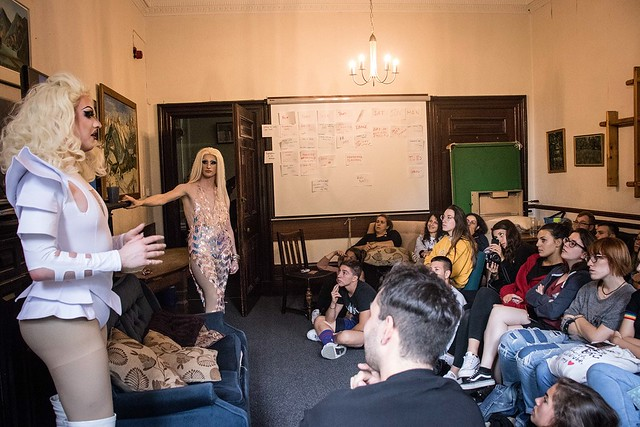 Dragtivism performers with young people