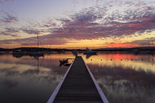 sunset lake lakemacquarie australia