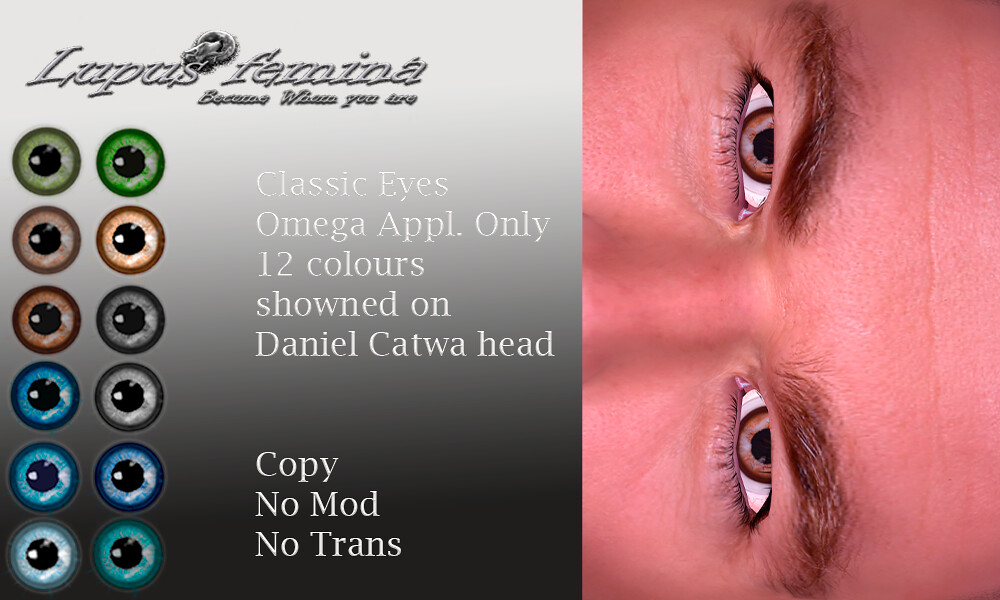 """Lupus Femina"" Classic Eyes Male version – Omega Appl."