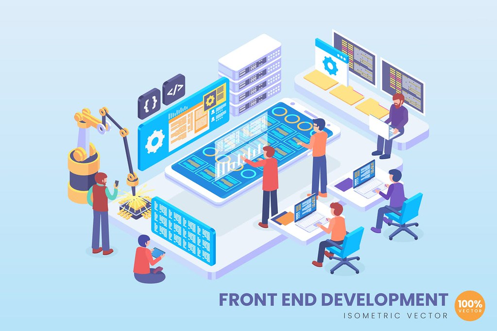 Isometric Front And Development Vector Concept