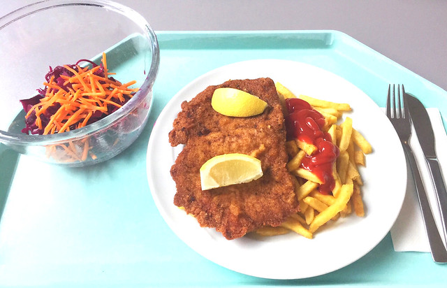 Pork escalope with french fries / Schweineschnitzel mit Pommes Frites