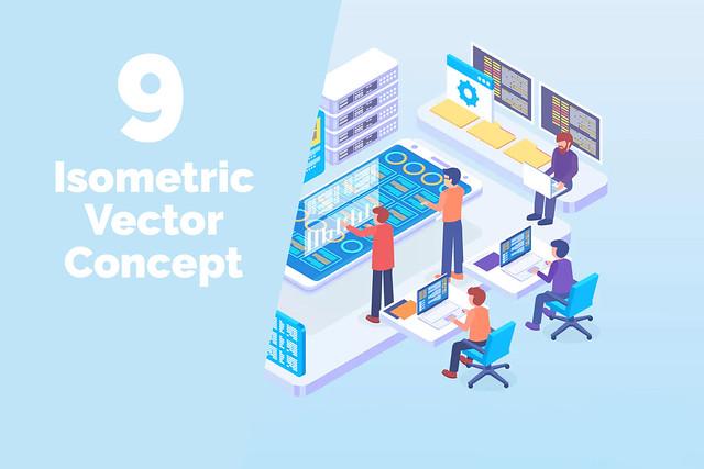 9 Isometric Vector Concept
