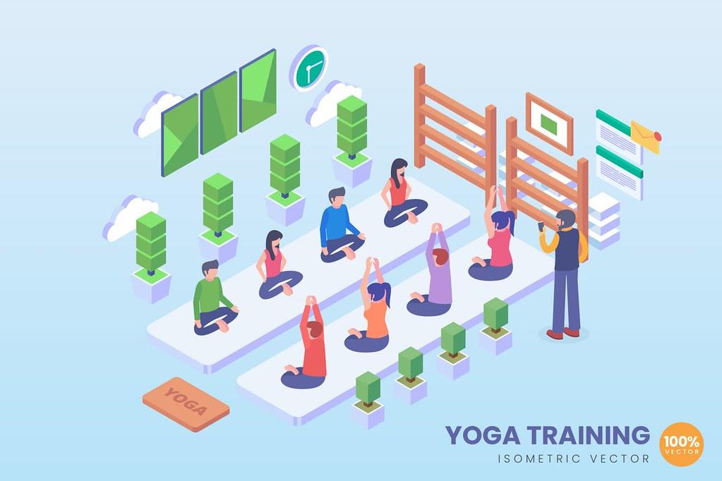 Isometric Yoga Training Vector Concept
