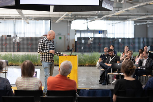 Lasse Scherffig (DE) at 100 Jahre Bauhaus: We are not alone, Ars Electronica History Day, POSTCITY | by Ars Electronica