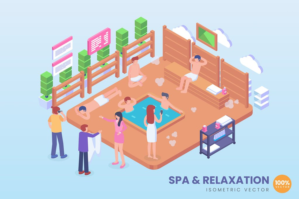 Isometric Spa & Relaxation Hot Pool Vector Concept
