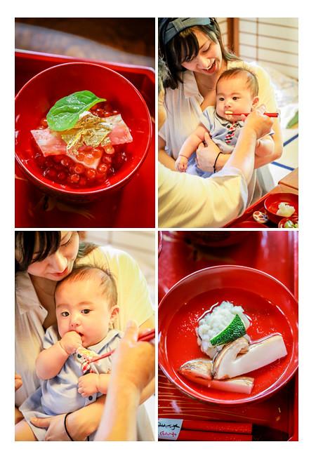 あつた蓬莱軒のお食い初め膳 お料理を食べる赤ちゃん 名古屋