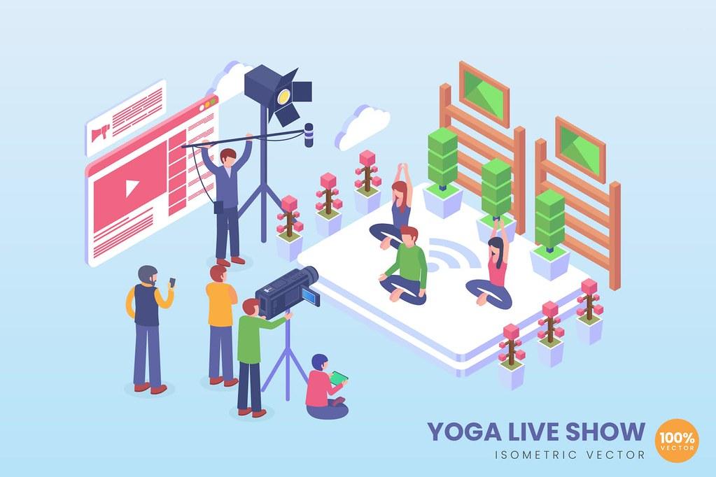 Isometric Yoga Live Show Vector Concept