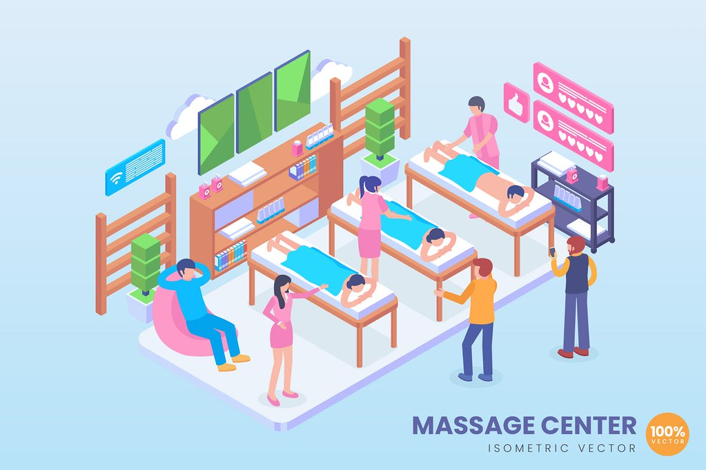 Isometric Massage Center Vector Concept