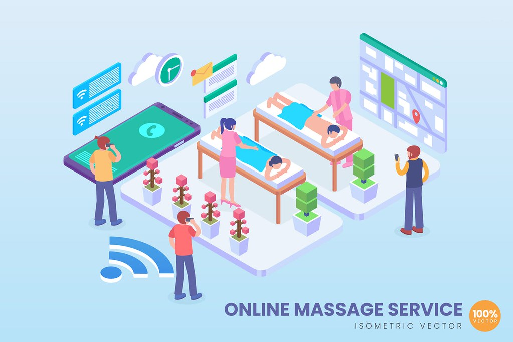 Isometric Online Massage Service Vector Concept