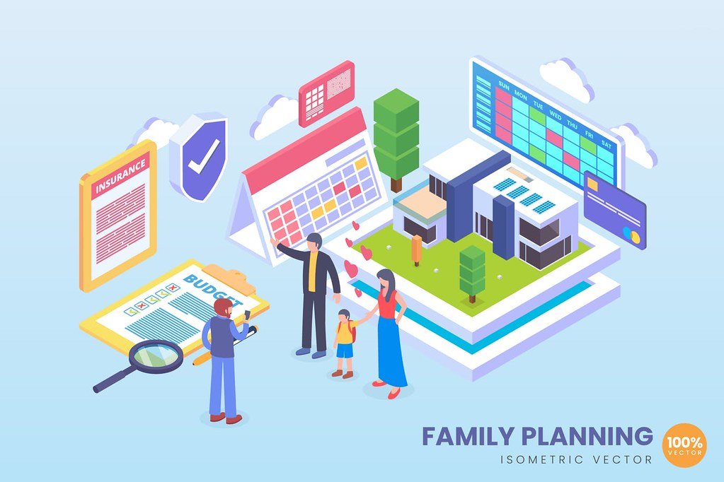 Isometric Future Family Planing Vector Concept