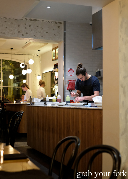 Open kitchen pass at Arthur Restaurant in Surry Hills Sydney