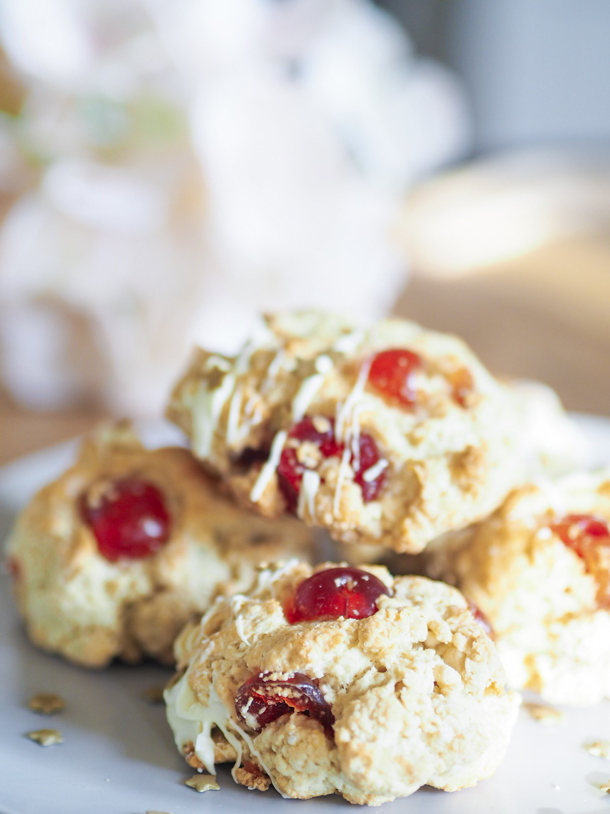 Cherry and white chocolate scone recipe milkbubbletea