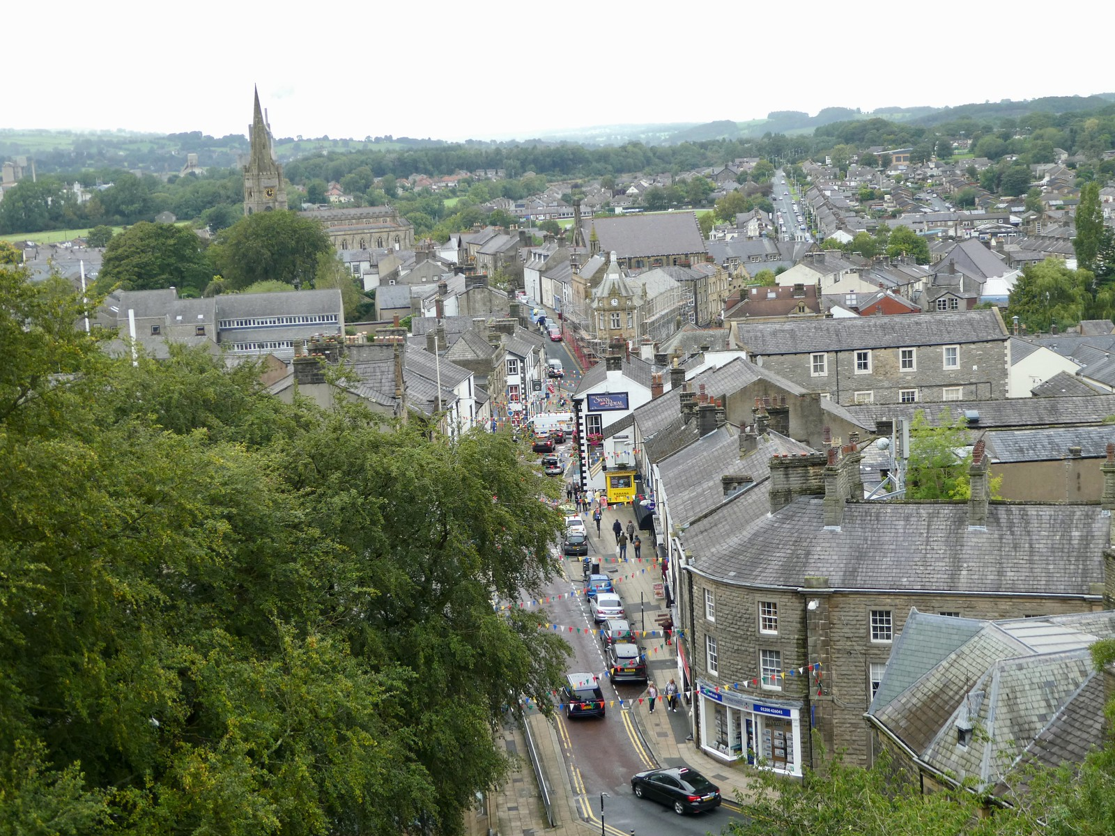 Castle Street, Clitheroe viewed from the castle keep