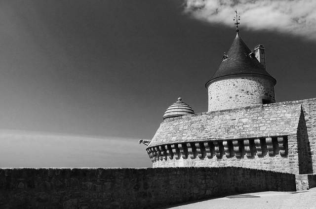 Rempart, guérite et gargouille, Mont-Saint-Michel