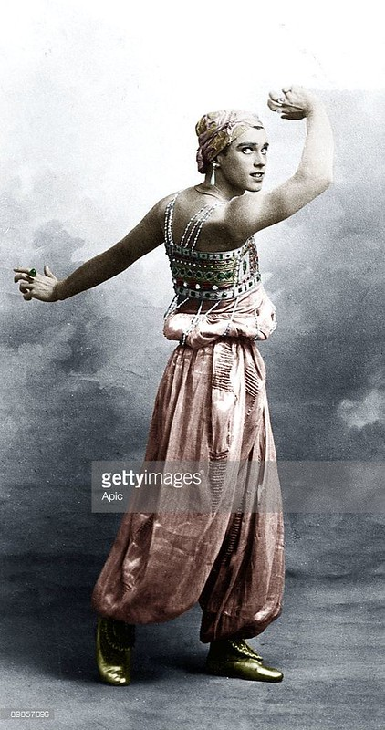 Про балетных. Vaslav Nijinsky russian dancer of polish origins here in ballet Sheherazade, 1910 colorized document