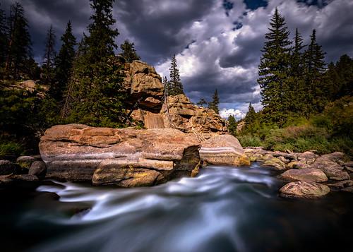 lakegeorge colorado unitedstatesofamerica landscape water stream river flowing relax picnic hike longexposure canon rockymountain