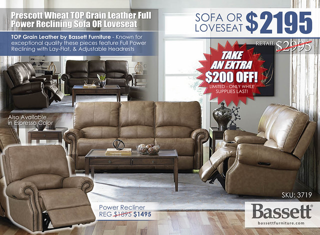Prescott Wheat Top Grain Leather Power Reclining Sofa OR Loveseat Special_Bassett_3179_Newest