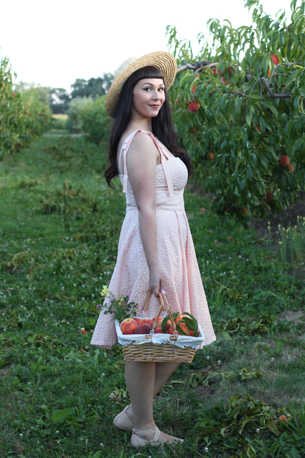 pink retro dress blogger