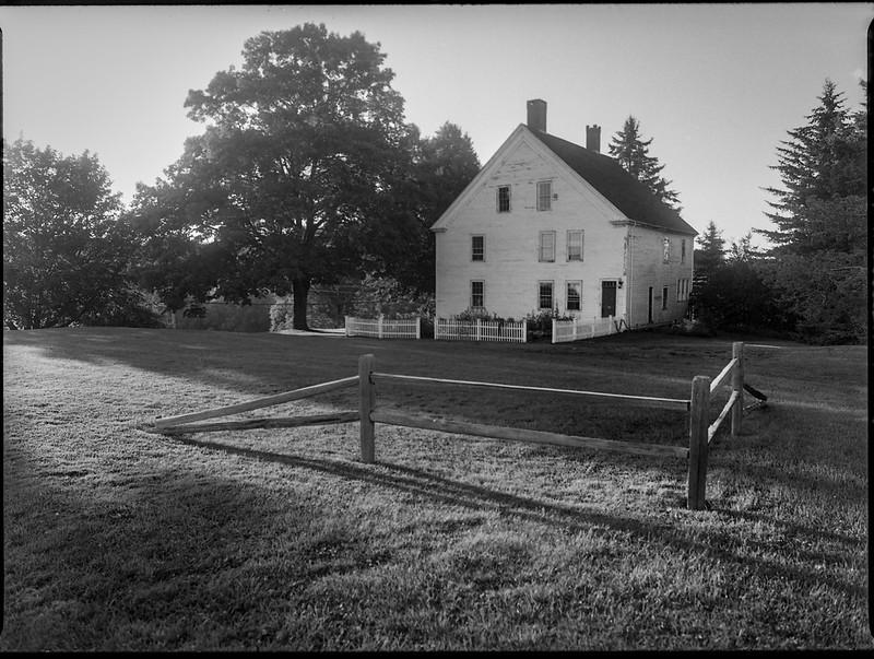 old homestead, near sunset, elongated shadows, Thomaston, Maine, Mamiya 645 Pro, mamiya sekor 45mm f-2.8, kodak TMAX 400, HC-110 developer, August 2019 (1 of 1)