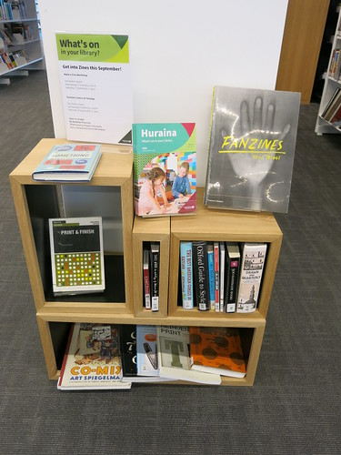 Zines display at Tūranga