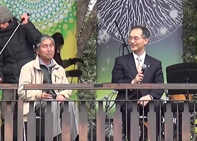 匝瑳農用太陽能第一發電所計畫主持人樁茂雄,與城南信用金庫前理事長吉原毅。