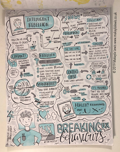 Sketchnotes from UX Roundabout 'Breaking Behaviours in UX - UX Roundabout #6 @ Big Radical'  August 2019 (Drawn by Dr Makayla Lewis) | by maccymacx