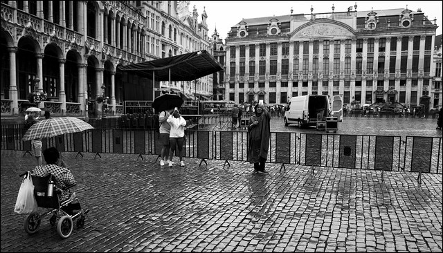 Rain falling down on the Grand Place in Brussels