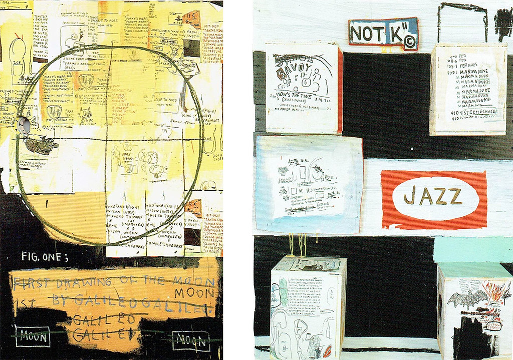 Galileo Galilei, 1983, acrylic, collage and oil crayon on canvas, 200×130㎝(91年会社案内より)(左部分にパンチの穴あり)右=Jazz, 1986, acrylic, oil and collage on wood, 127×91×22㎝(87年関連会社案内より)