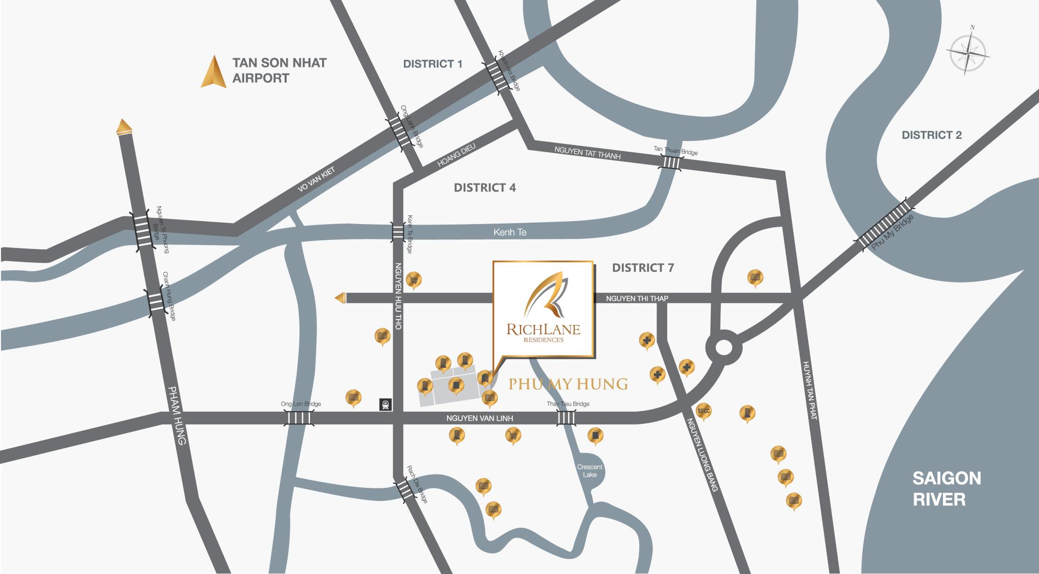 Bản đồ vị trí căn hộ RichLane Residences quận 7 của Mapletree, vị trí đắc dịa và giao thông thuận lợi.