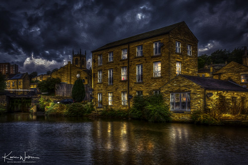 england bridge yorkshire travel landscape outdoor valley sowerbybridge uk sowerby view background rural calderdale water town scenic sky westyorkshire norland tranquil terraced houses moor pennines wetvale horizon mill west old canal halifax reflection architecture towpath waterway traditional calder