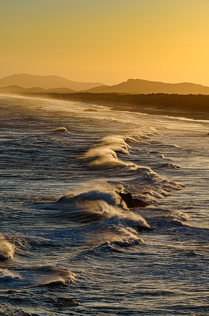 Rolling Waves at Sunset