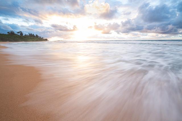 Sunrise on the eastern shore of Kauai, Hawaii