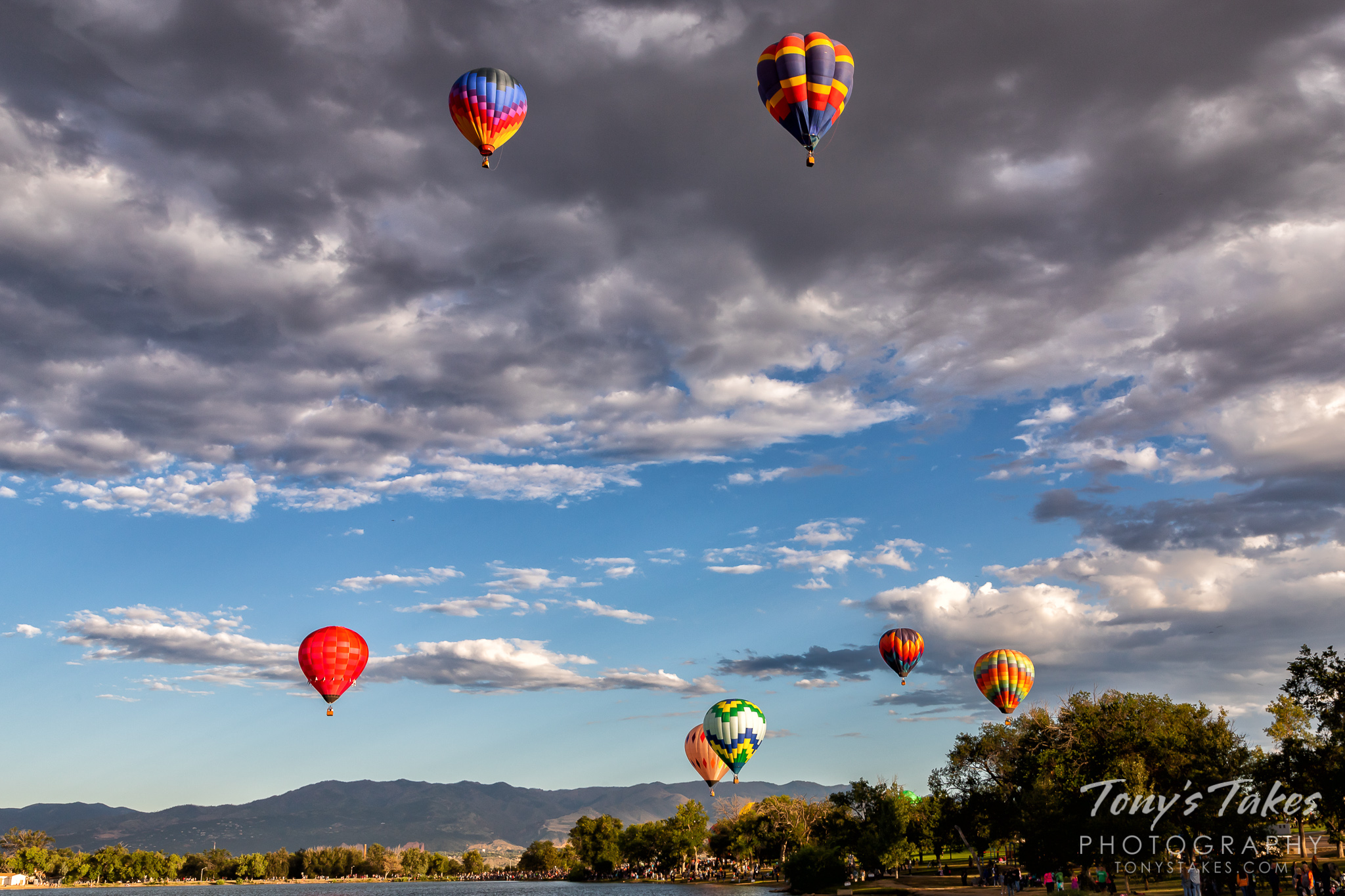 Balloons take to the sky at Memorial Park in Colorado Springs, Colorado. (© Tony's Takes)