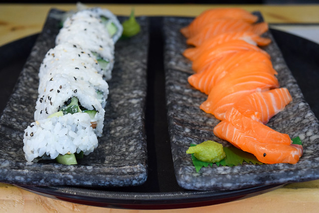 Salmon Sashimi and Maki Rolls at Happy Samurai, Canterbury