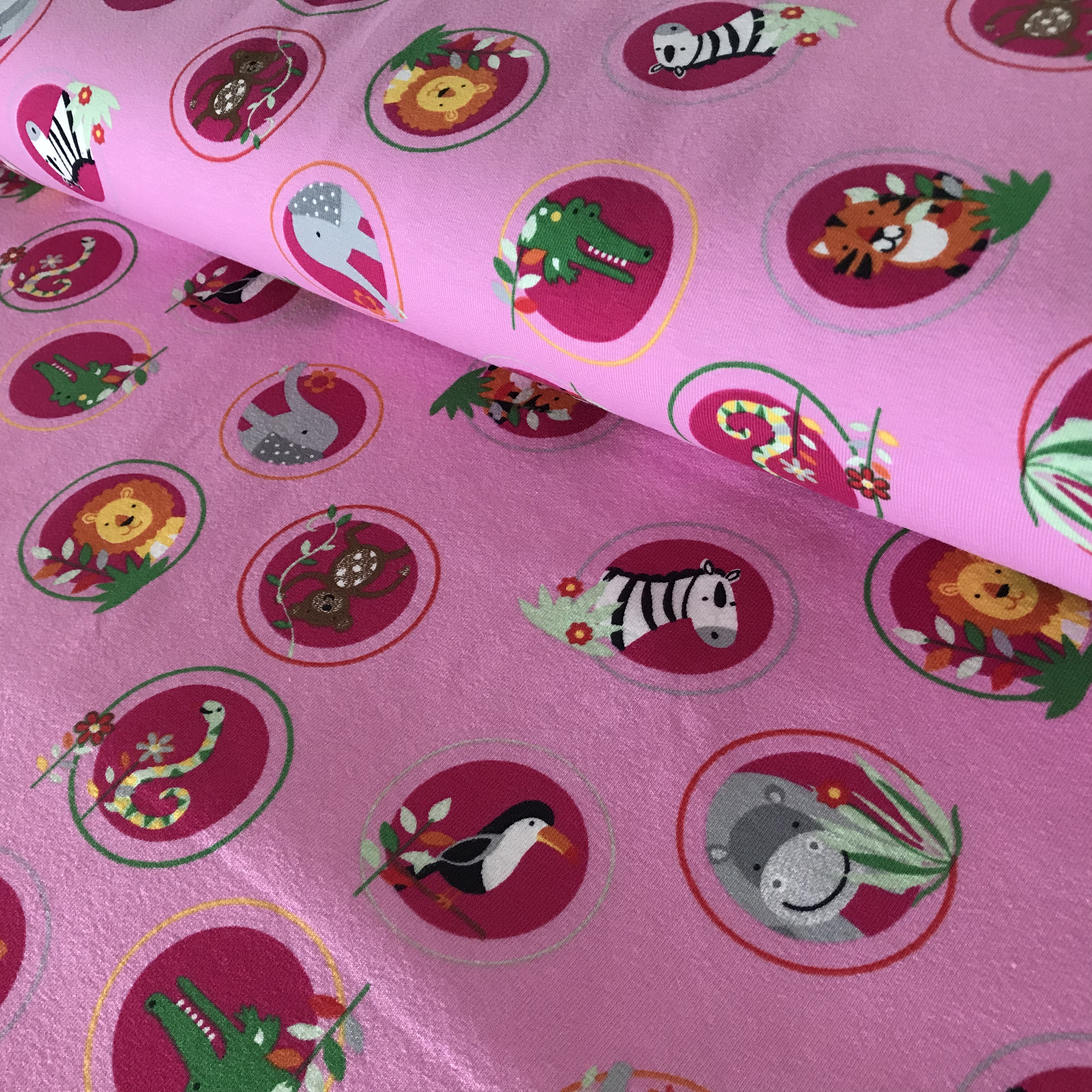 """Baumwoll-Jersey """"Zootiere"""", rosa"""