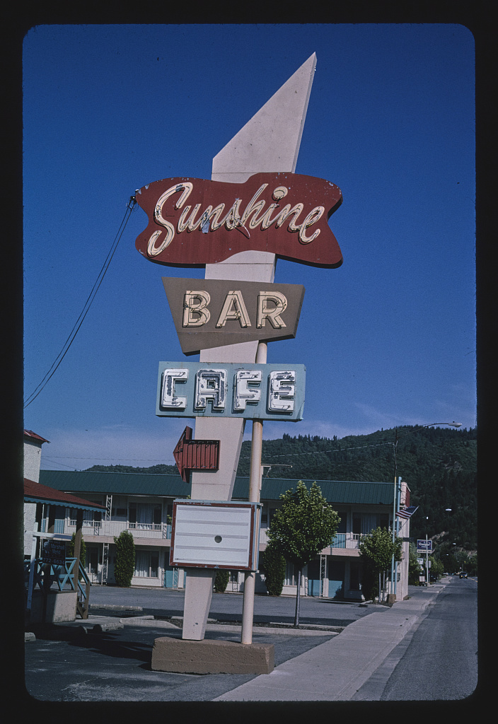 Sunshine Bar Cafe sign, Highway 10, Kellogg, Idaho (LOC)