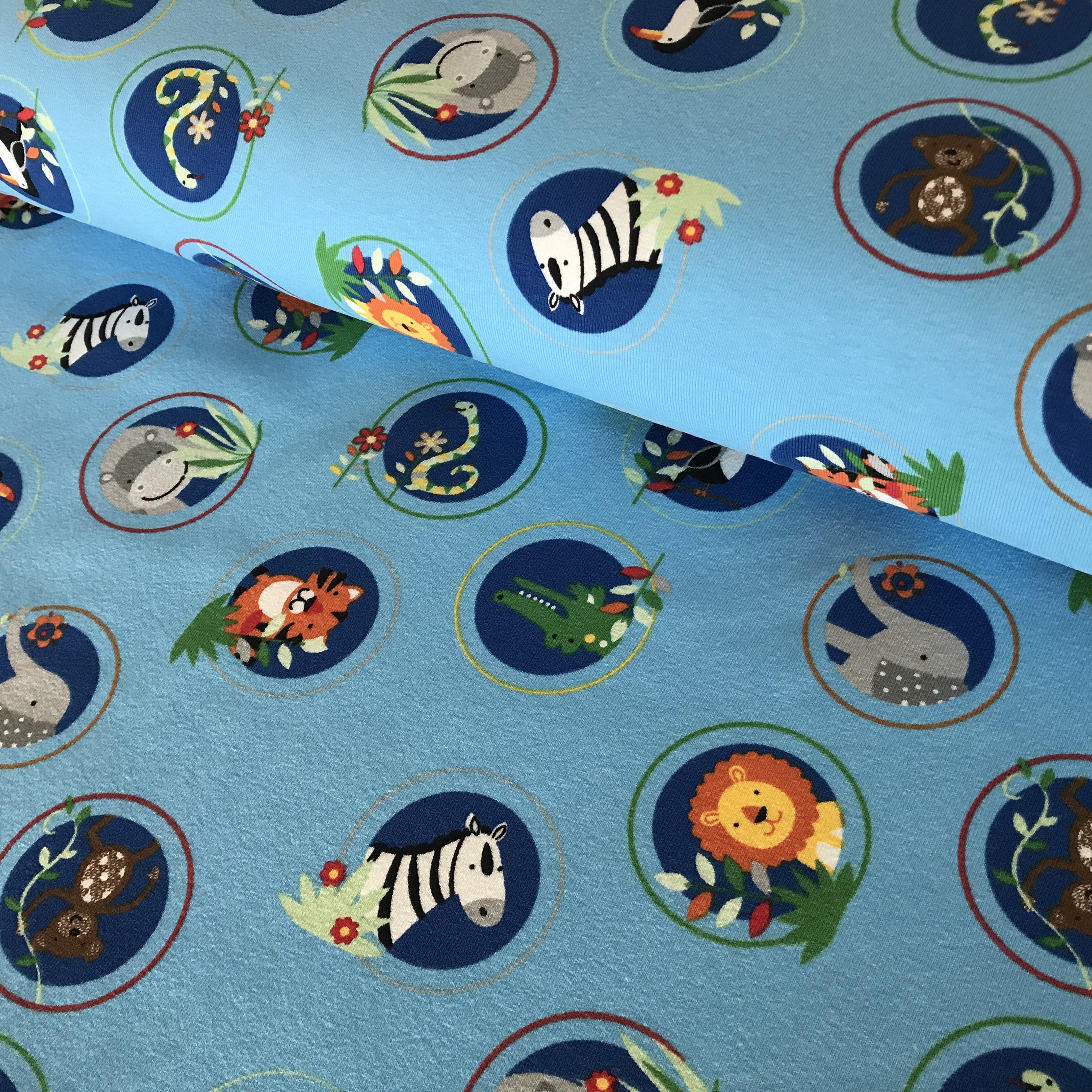 """Baumwoll-Jersey """"Zootiere"""", blau"""