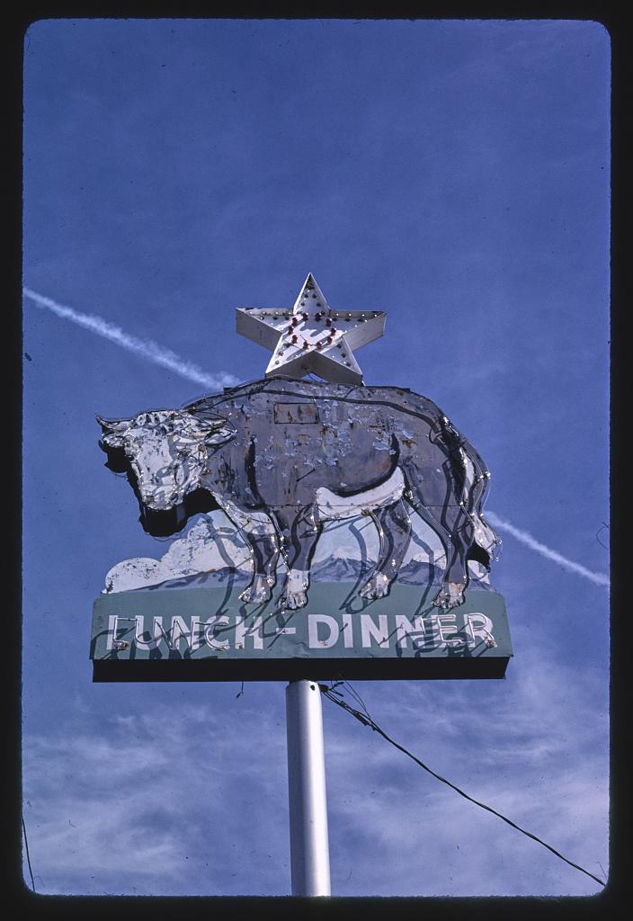 Branding Iron Restaurant sign, B-40, Flagstaff, Arizona (LOC)