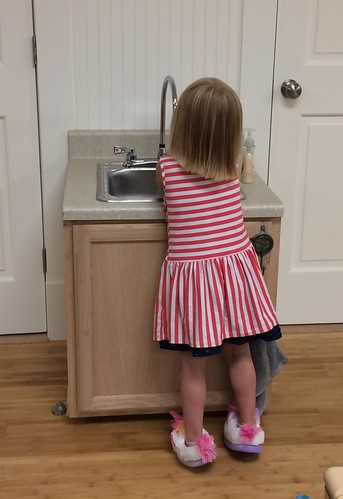 handwashing at the new sink